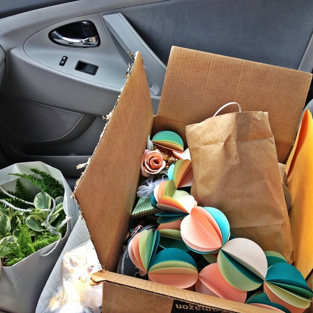 Preview of wedding decor - my car was packed full!