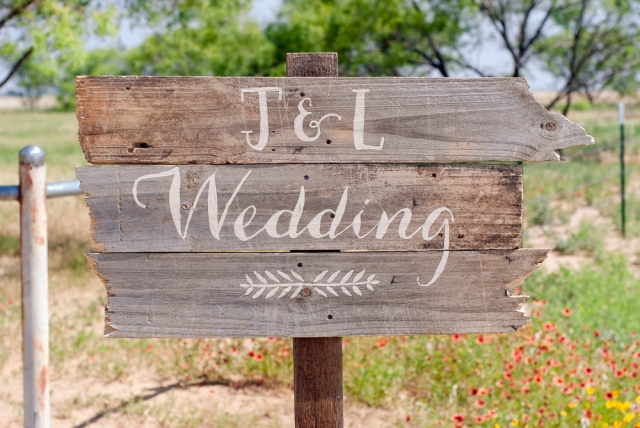 J and L Wedding Sign