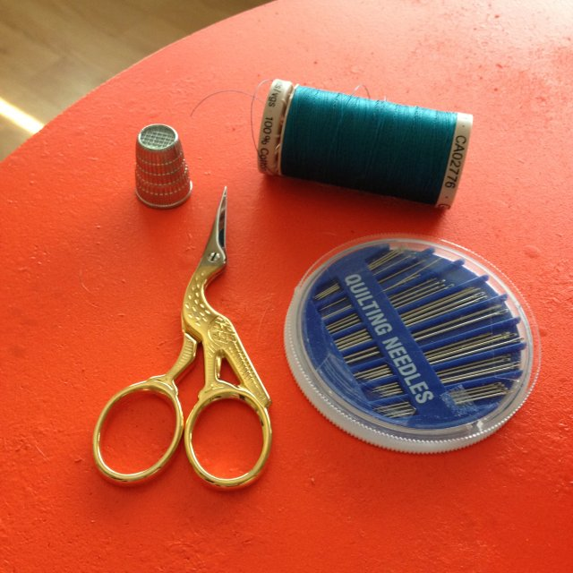 My simple supplies. Thimble, thread, needles, and scissors.