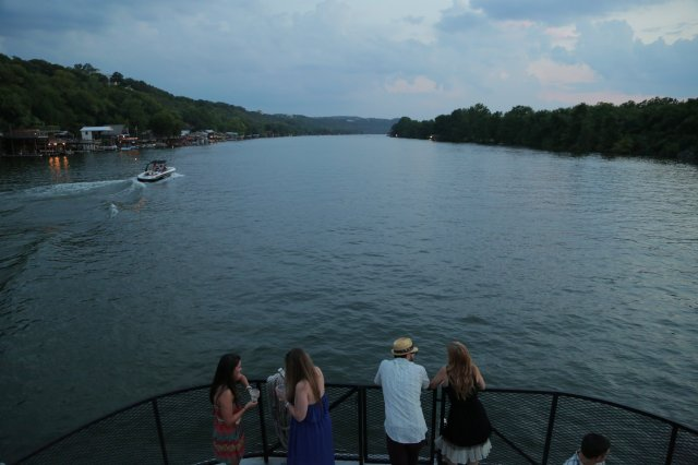 boat party view of Lake Austin