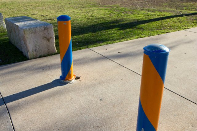 blue and orange barriers