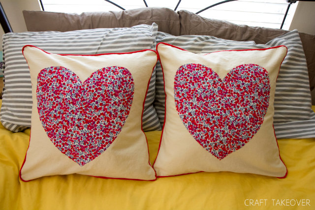 modern heart pillows