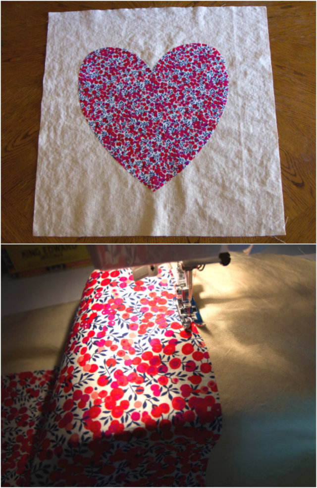sew around the edges of the shape