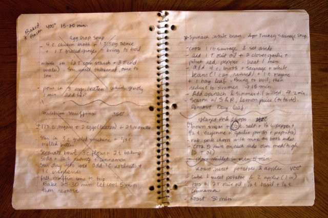 old recipe notebook