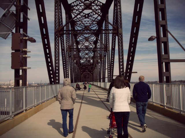 Walking across the Big Four Bridge