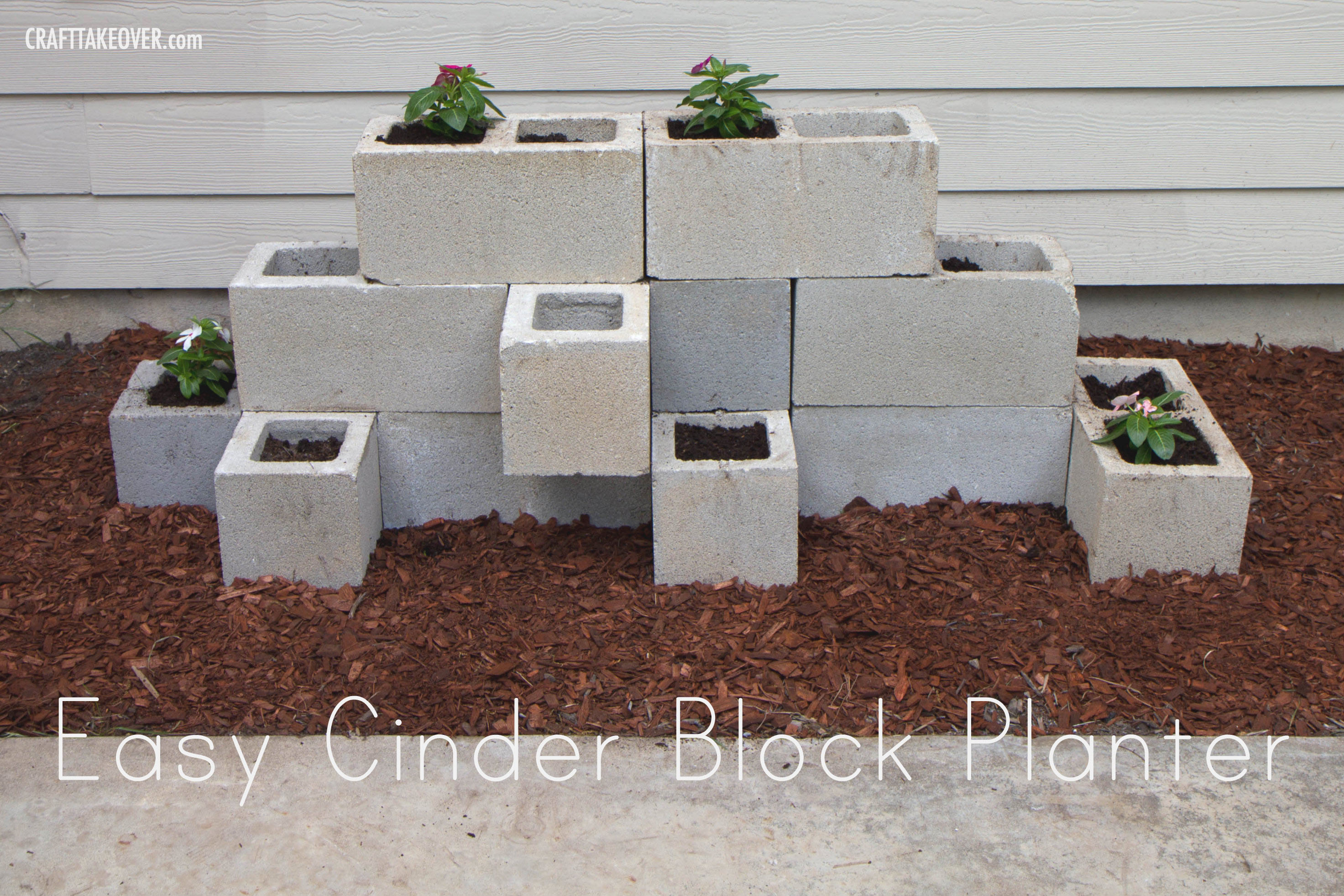 easy cinder block planter craft takeover. Black Bedroom Furniture Sets. Home Design Ideas