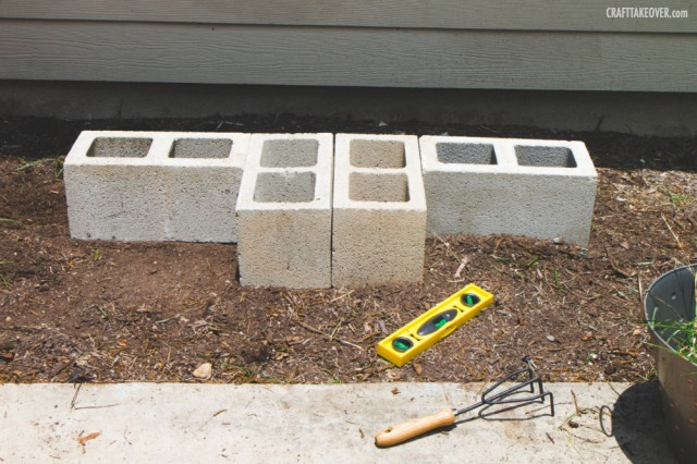 leveling the cinder blocks