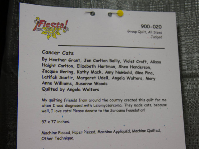 Cancer Cats quilt description