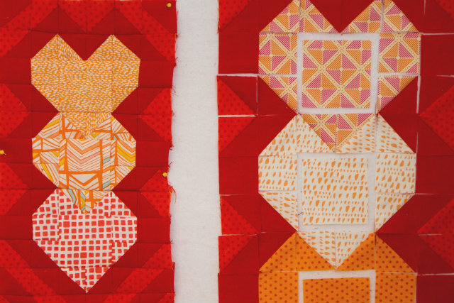 mini quilt on the design wall